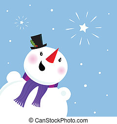 Happy Snowman looking at snow star