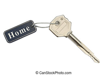 Key with tag Home, isolated on white background