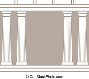 Double classic pillars arc isolated on brown background....
