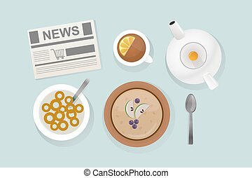 Healthy breakfast food top view vector illustration. -...