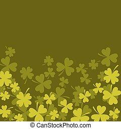 Clover shamrock dark green card background.
