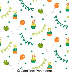 Irish celebration party seamless vector pattern. Cup cakes,...