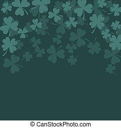 Clover trefoil dark green card background. - Clover trefoil...