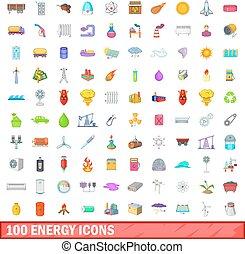 100 energy icons set, cartoon style - 100 energy icons set...