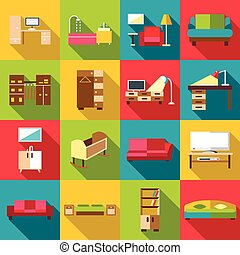 Home interior icons set, flat style - Home interior icons...
