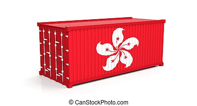 Hong Kong flag on container. 3d illustration