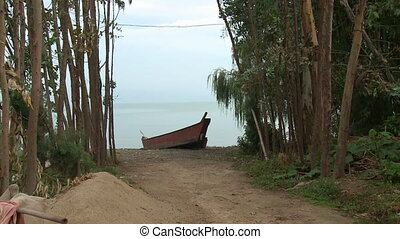 Boat on lake in mountains in province. - Yunnan, China - 25...