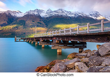 Landscape view of Glenorchy wharf pier, New Zealand -...