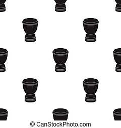 Goblet drum icon in black style isolated on white...