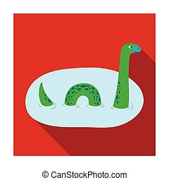 Loch Ness monster icon in flat style isolated on white...