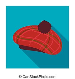 Scottish traditional cap icon in flat style isolated on...
