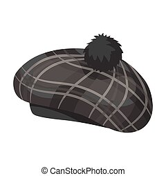 Scottish traditional cap icon in monochrome style isolated...