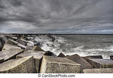 Scheveningen Storm - Storm in Scheveningen harbor, Holland