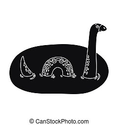 Loch Ness monster icon in black style isolated on white...