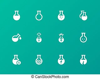 Flacon and flask icons on green background. Vector...