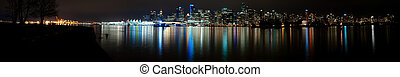 Ultra Wide Vancouver Night Skyline, Canada Panorama -...