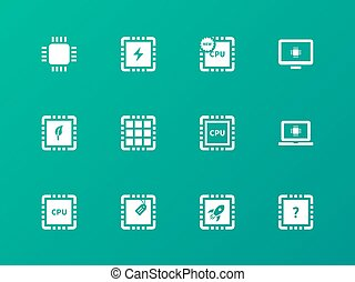 CPU icons on green background. Vector illustration.