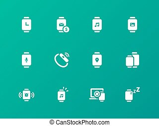 Collection of smart watch app icons on green background.