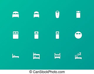 Bed, bunk and sleeping bag icons on green background. Vector...