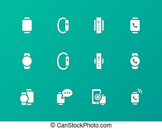 Smart watch icons on green background. Vector illustration.