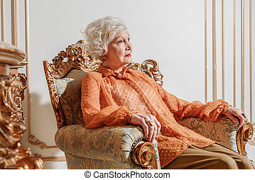 Sad old rich lady is completely alone - Richness is...