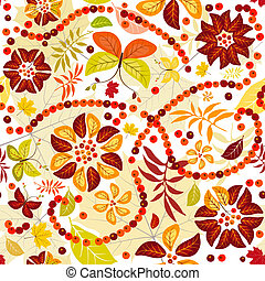 Autumn flowers seamless - Autumn seamless pattern with...