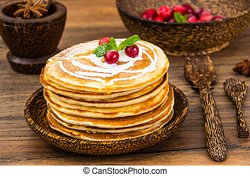 Pancake with sour cream