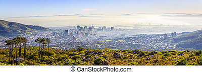 Cape Town - Panoramic aerial view of downtown Cape Town in...