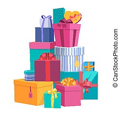 Colorful wrapped gift boxes. Beautiful present box with...