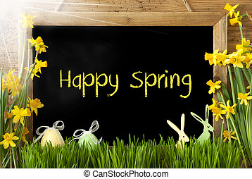 Sunny Narcissus, Easter Egg, Bunny, Text Happy Spring -...