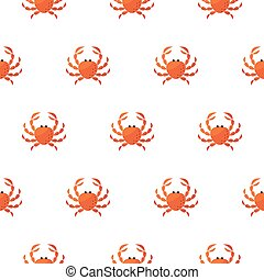 Red crab cartoon vector pattern.