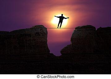 Highline walker concept of risk taking and challenge -...