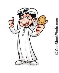 Cartoon Arabian Kid - cartoon arabian kid holding a cookie...