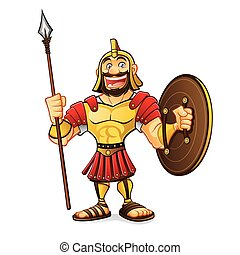 Cartoon Roman Army - cartoon roman army was standing smiling...