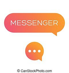 Messenger icon vector set orange