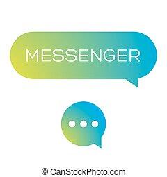Messenger icon vector set green