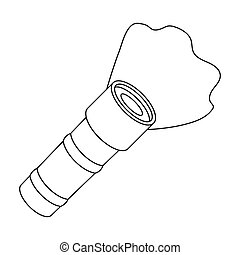 Flashlight icon in outline style isolated on white background. Police symbol stock vector illustration.
