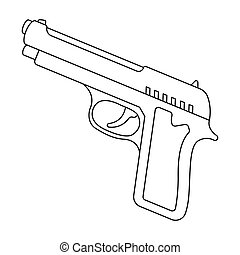 Handgun icon in outline style isolated on white background. Police symbol stock vector illustration.