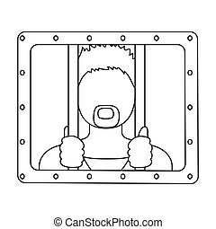 Prisoner icon in outline style isolated on white background....