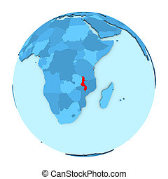 Malawi on globe isolated - Malawi in red on simple political...