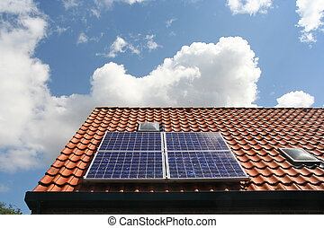 Solar Panels - Solar panels on the roof of a private home