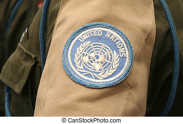 United Nations emblem on soldiers sleeve