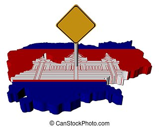 warning sign on Cambodia map flag