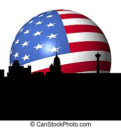 San Antonio skyline American flag sphere - San Antonio...