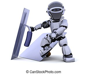 robot with plastering tools hawk and trowel - 3D render of a...