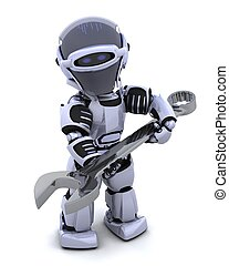 robot with spanner - 3D render of a robot with open ended...