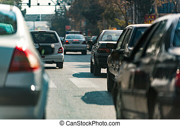 Day traffic in Iranian city - Different cars are on road....