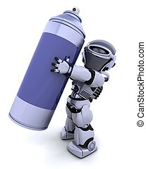 robot with spray can - 3D render of a robot  with spray can