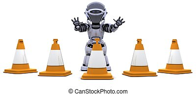 robot with traffic cones - 3D render of a robot with traffic...