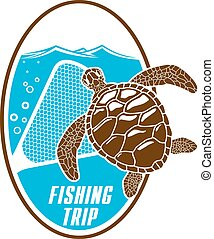 Fishing trip vector icon of turtle and fishnet - Turtle...